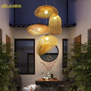 Modern Bamboo Lamp LED Pendant Lights Lighting Restaurant Hotel Rattan Pendant Lamp Living Room Kitchen Hanging Lamps Luminaries
