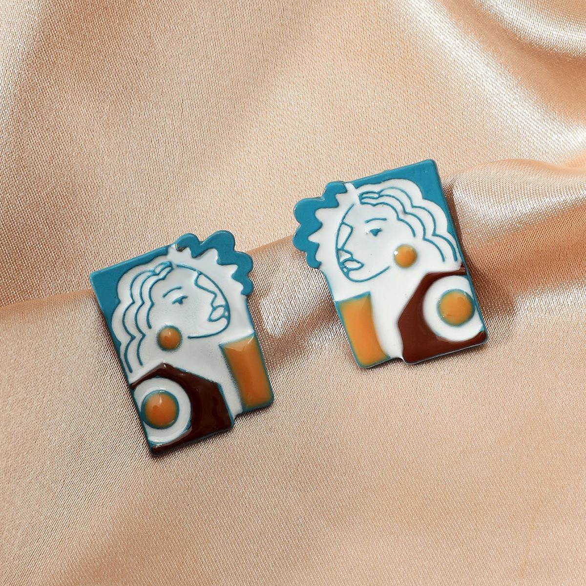 2021 винтажные жертвенные рандомные серьги в форме нации Майя для женского творческого синего портрета Индивидуальные дизайнерские ювелирн...