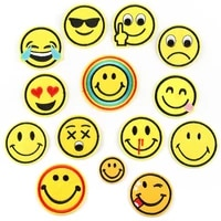 5pcs yellow cute expression smiling face clothing embroidery patch stickers ironing patch stickers clothes cartoon smile badges