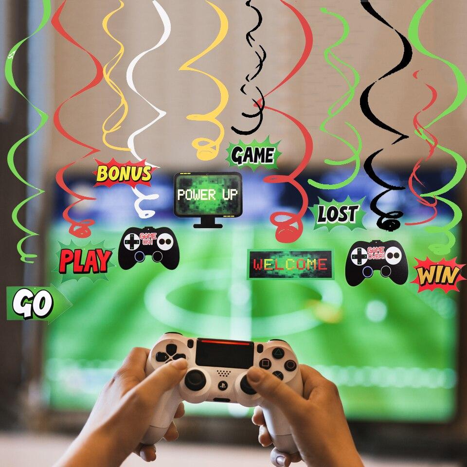 Décorations en spirale bricolage pour jeux vidéo   Ensemble de jeux, ornements de fête, contrôleur de jeu vidéo, motif tourbillon suspendus cadeaux, décorations de fête danniversaire pour enfants