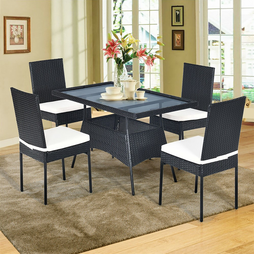 Costway 5PCS Patio Rattan Dining Set Cushioned Chair Table w/Glass Top Garden...