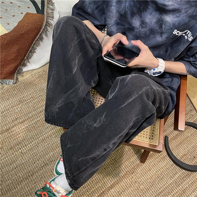 2021 Men's Fashion Wide Leg Pants Baggy Homme Men Denim Trousers Classic Cargo Pocket Jeans Blue Men Casual Pants