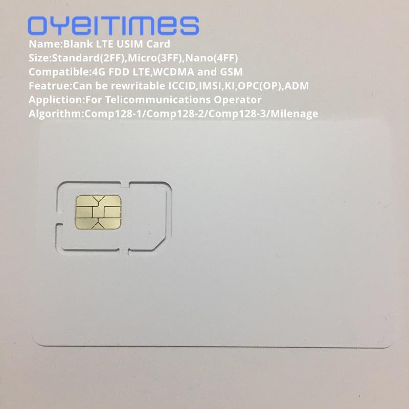 OYEITIMES 4G 128K Programmierbare Leere SIM Karte GSM WCDMA LTE SIM Karte 2FF/3FF/4FF Mit ICCID IMSI KI OPC(OP) SIM Karte Für Betreiber