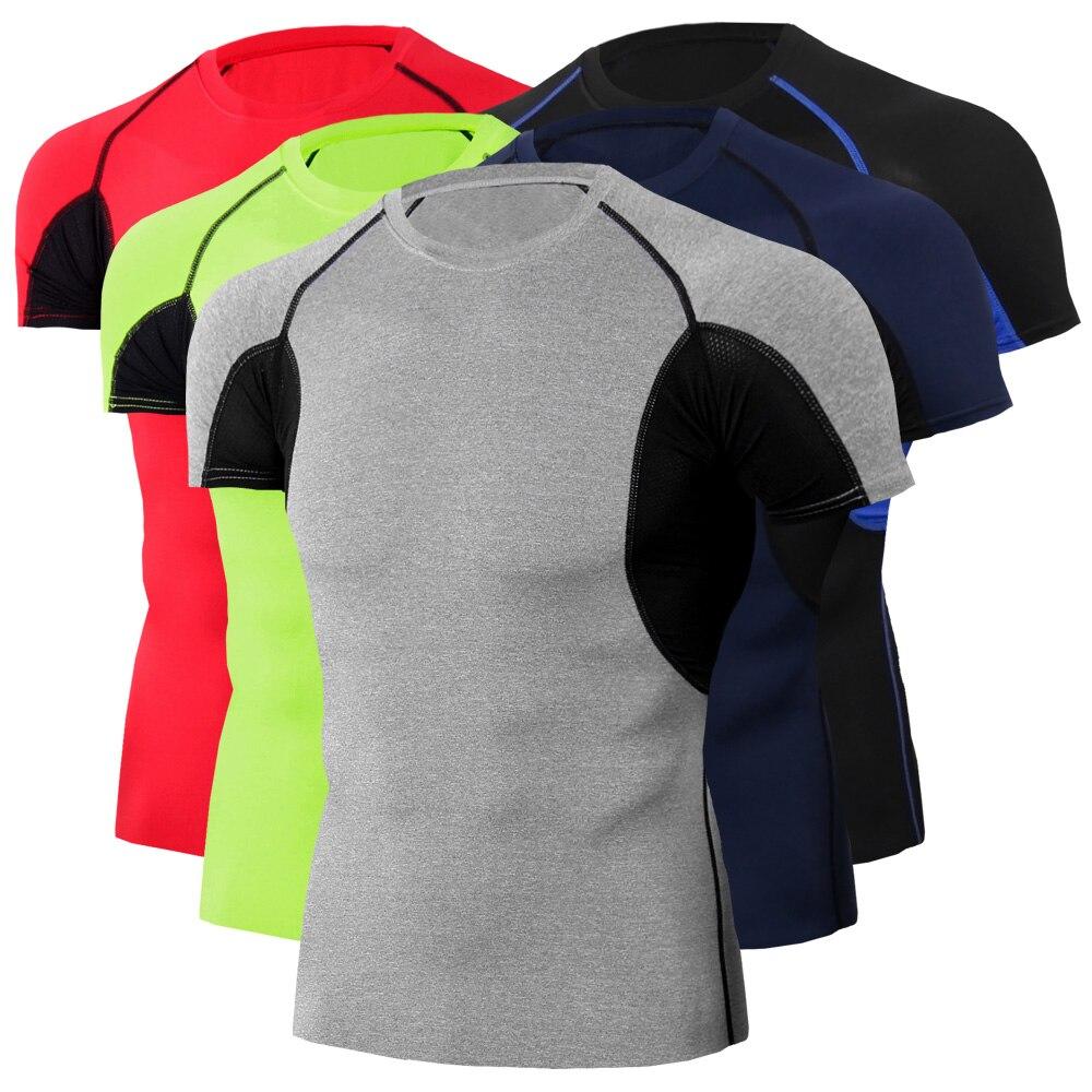 Мужская компрессионная рубашка для бодибилдинга, бега, тренажерного зала, тренировок, бега, тренировок, бега, быстросохнущая облегающая фут...