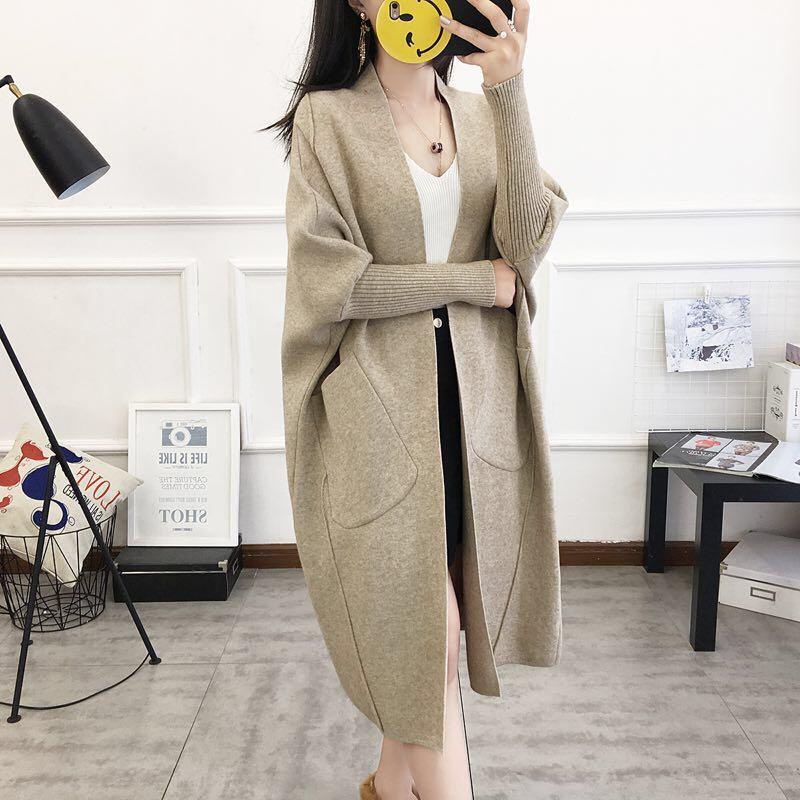 autumn spring women sweater knitted long cardigan coat bat over knee 0.8 enlarge