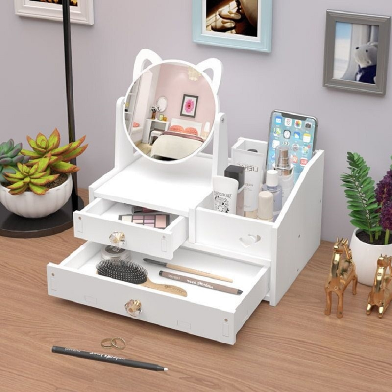 Kids Dressing Table Dresser Drawers with Lovely Cats Mirror Rotate Makeup Organizer Nail Polish Brus