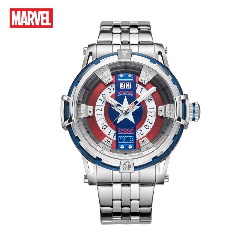 ساعة مارفل كابتن أمريكا الأصلية للرجال ، حزام كوارتز ، كاجوال ، متعددة الوظائف ، مقاومة للماء ، مع تقويم