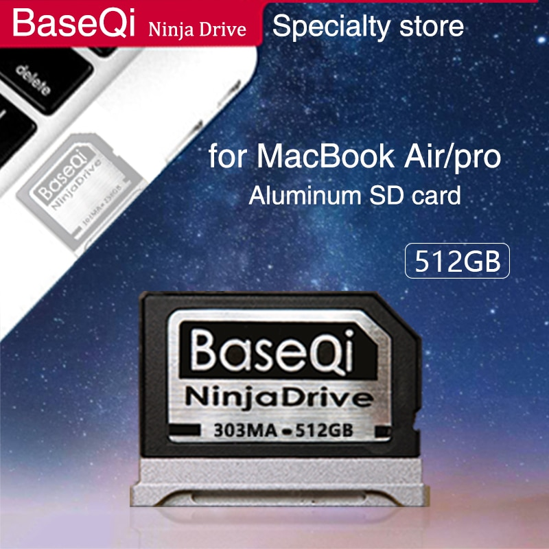 BaseQi NinjaDrive Aluminum 512GB Memory Card SD Card for MacBook Air 13
