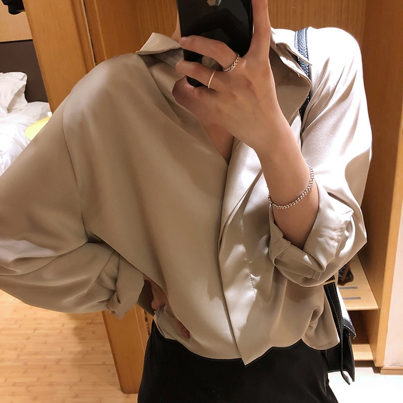 Mooirue verano primavera 2019 mujer coreana blusa Chiffon largo V cuello vuelto rayas blusa suelta señora gasa cardigan