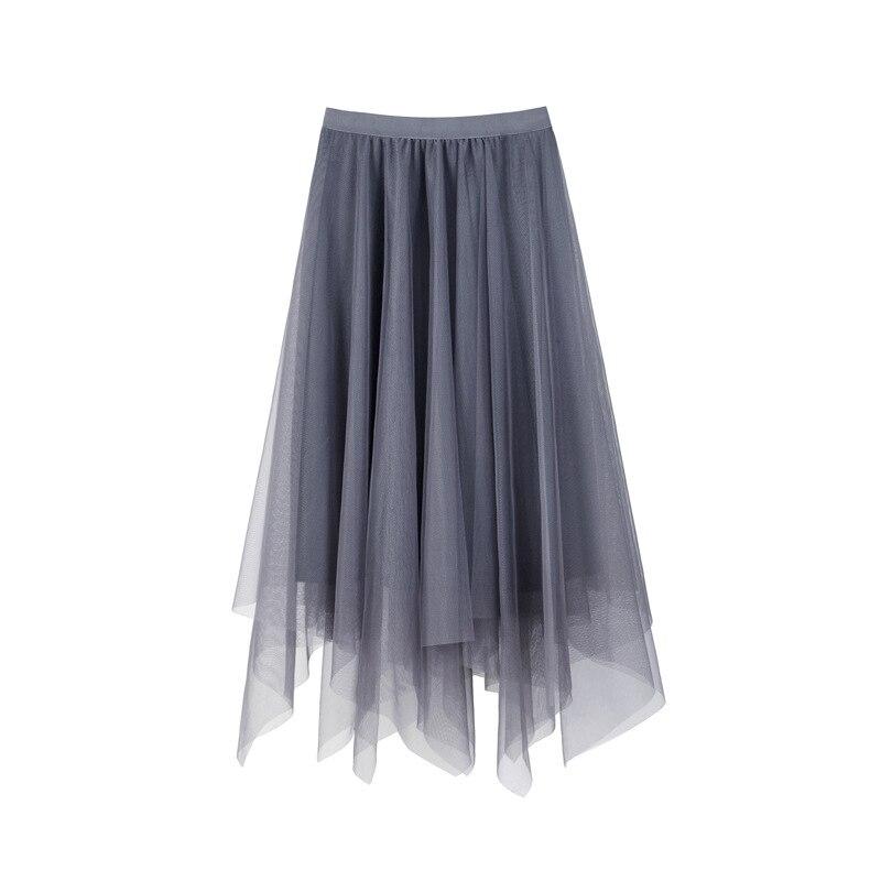 Falda de hadas de media longitud de hilo de red de las mujeres 2020 primavera nuevo negro Irregular de alta cintura media-longitud moda faldas dulces