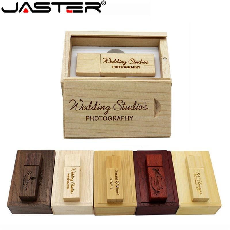 JASTER (1 PCS free LOGO) Photography Customer LOGO Wooden usb+BOX usb flash drive pendrive 4GB 16GB 32GB 64GB wedding gift
