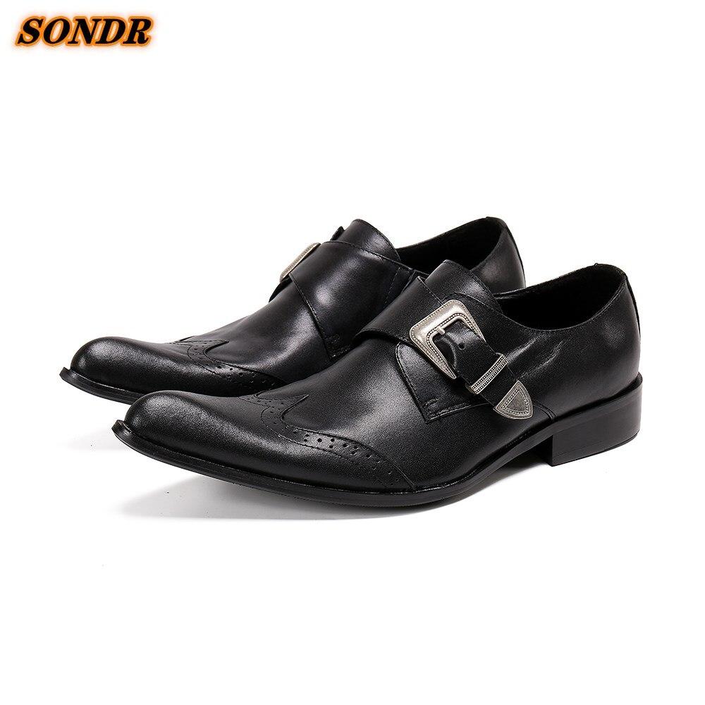 Zapatos formales De negocios De cuero genuino para hombres, zapatos con correa...