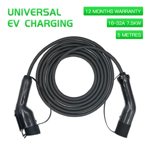 Portable Charging Cable Mode 3 Type 1 Female to Type 2 Male J1772 EVSE 220V-250V Home or Public EV Charger