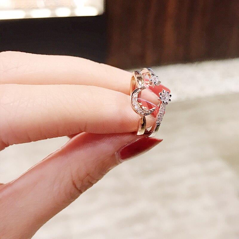 Anillo de estrellas ajustable de Japón y Corea del Sur, Micro diamantes...