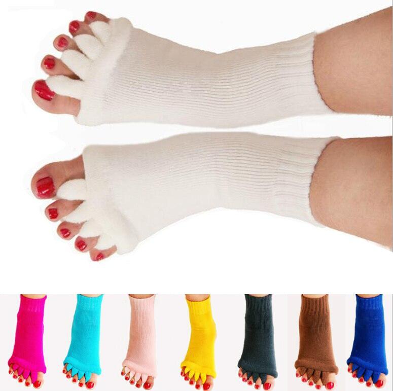 1 par de calcetines de cinco dedos separadores ortopédicos para dedos del pie Corrector ortopédico Hallux Valgus corrección de postura Ectropion