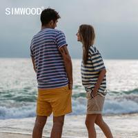SIMWOOD 2021 Summer new Indigo washed t-shirts men vintage contrast striped 100% cotton tops mathing couples T shirt SJ130075