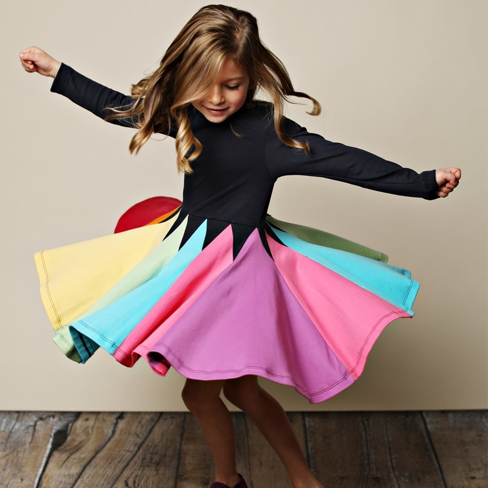New Fashion Fall Winter Rainbow Long Sleeve Cotton Color Block Cute Baby Girl Cotton Party Dresses f