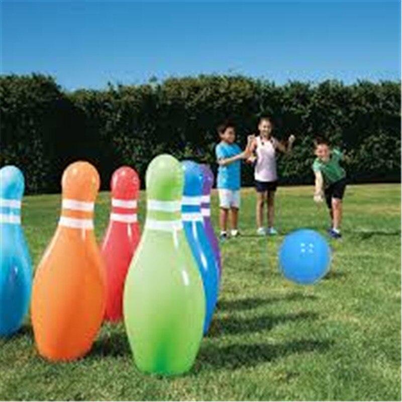 7 unids/set niños inflable gigante bolas de bolos conjunto al aire libre juguete playa pastizales Juego de Pelota inflada juguetes para los niños