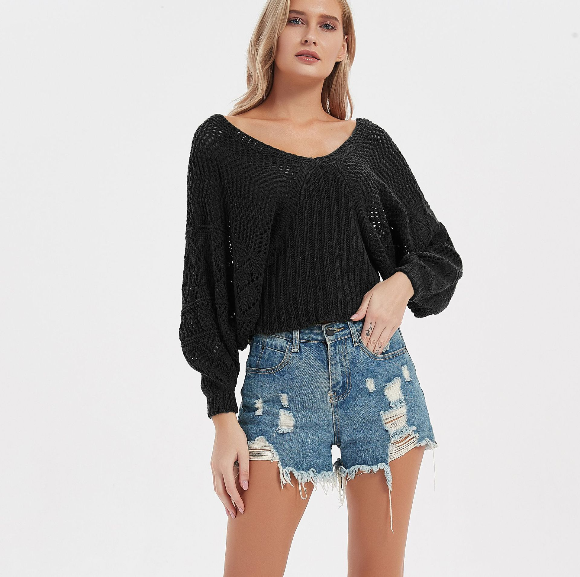 Knitted sweater women 2021 autumn and winter new sexy European and American bat sleeve long sleeve solid color hollow V-neck enlarge