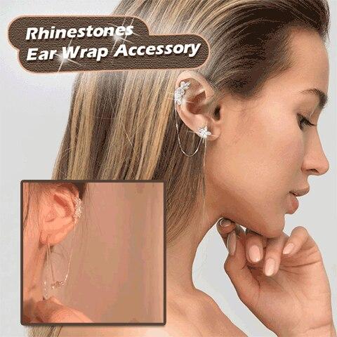 Accesorio de abrigo de oreja de diamantes de imitación pendientes de cristal de perla accesorio de estilo de oreja Bling pendiente de moda para niñas