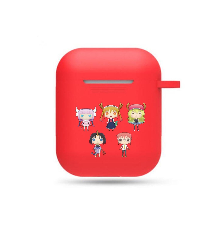 Miss Kobayashi é Dragão Airpods Empregada caso do Fone de ouvido Fone De Ouvido Caixa de Proteção Unisex Vermelho caso Do Bluetooth Fone De Ouvido fone de Ouvido Capa