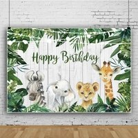 laeacco white wooden boards jungle safari happy birthday party baby portrait customized banner photo background photo backdrops