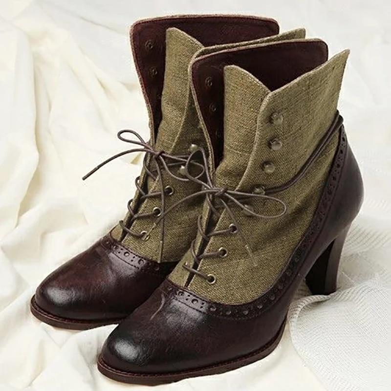 وصل حديثًا حذاء نسائي من الجلد الصناعي المصنوع من البولي يوريثان برباط علوي حذاء نسائي بكعب عالٍ غير رسمي بتصميم قديم من Invierno TW503