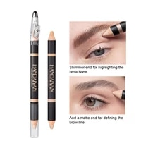 1pcs double end highlighting duo pencil matte and shimmer brow highlighter pencil eyebrow contouring pen