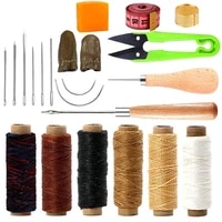 lmdz 21 pieces leather sewing tools 6 color waxed thread with leather sewing needles big eye needles curved needles awl