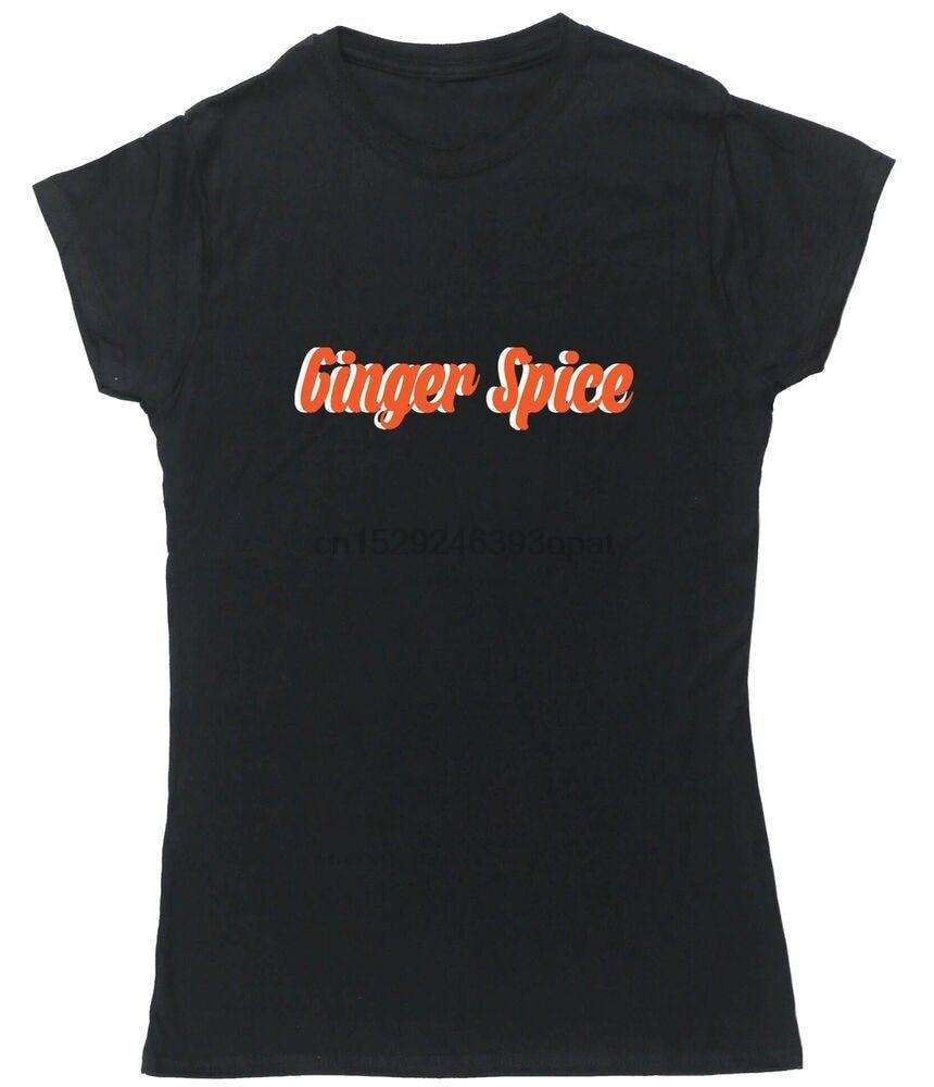 GINGER SPICE-Camiseta con mangas cortas ajustadas, para mujeres, banda union jack, chicas famosas