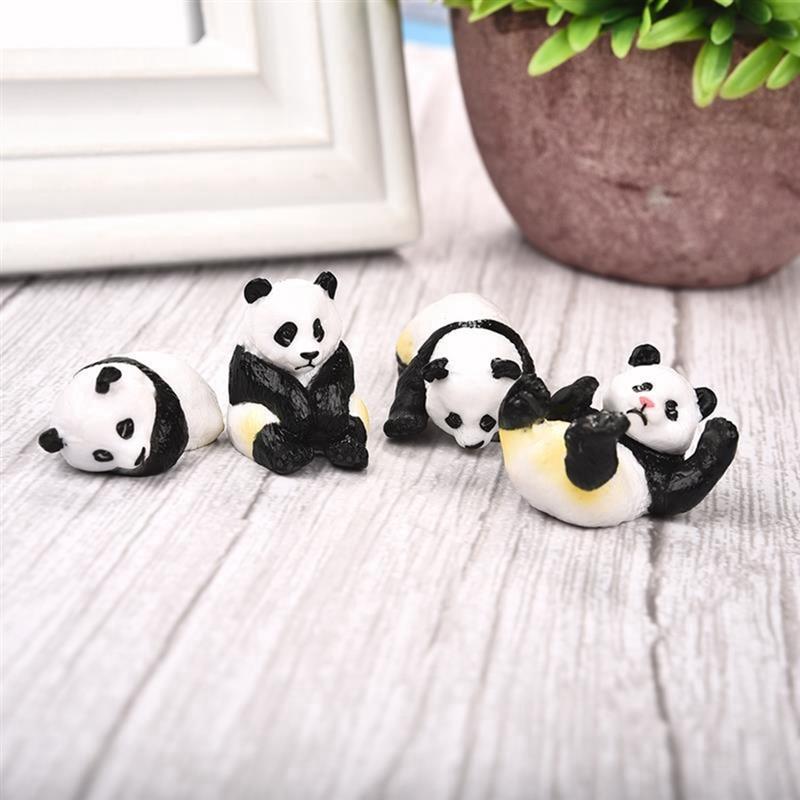 Conjunto de 4 piezas, bonito Panda Moss, Micro Terrario de paisaje, figurita de resina, Panda divertido, ornamento para bebés, Hada en miniatura de decoración de jardín