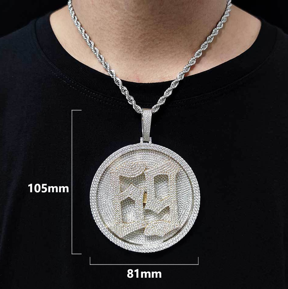 Custom Rotate Letters Pendant For Men Women Full Cubic Zirconia Big Round Necklace Hip Hop Jewelry