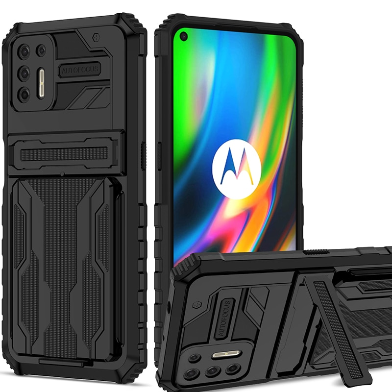 Shockproof Armor Case For Moto G9 Plus Cases Phone Stand Cover On Moto G30 G Stylus Power 2021 Removable Card Bag Covers Bumper
