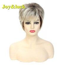 Peluca corta rubia degradada, cabello sintético Bob liso con flequillo, Peluca de mujer Natural para uso diario