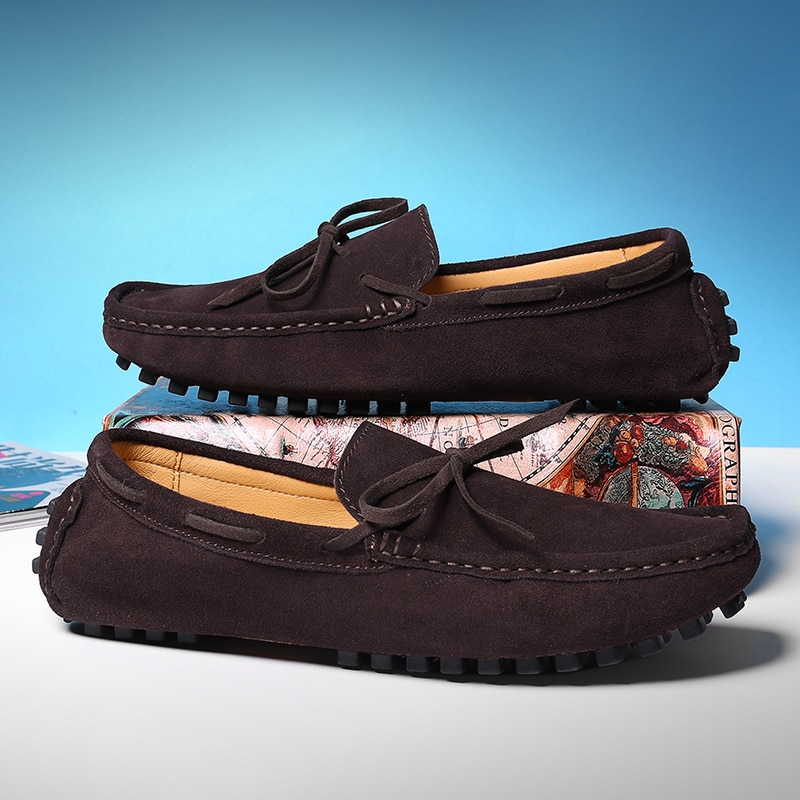 Loafers Men Car Driving Shoes Men's Casual Shoes Man Moccasins Cow Suede Leather Flats Slip On Loafer Brown