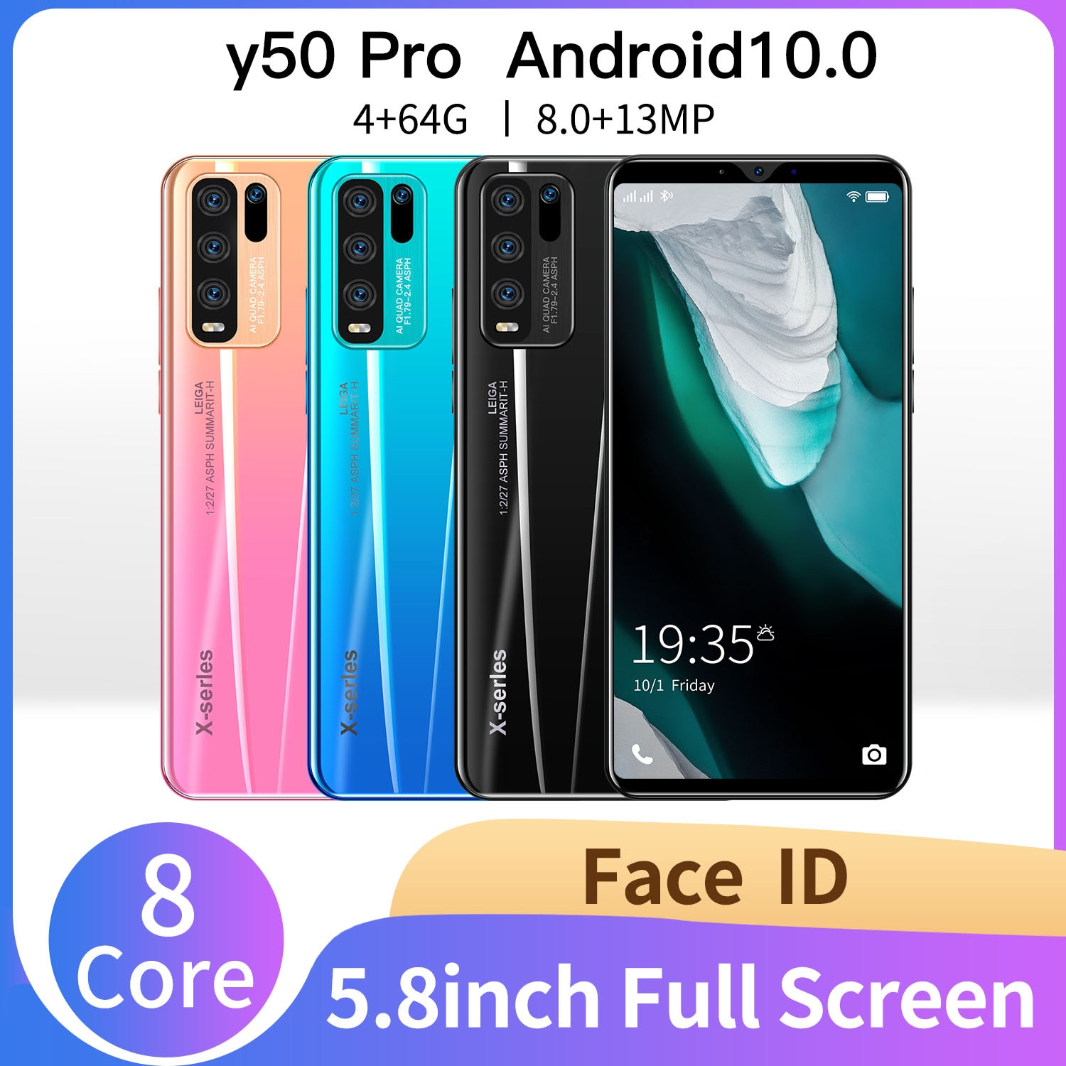 5g Cellphones Smartphones 5.8inch Y50 Pro  4GB 64GB 8MP+13MP  Android 10 4800mAh 8Core Really Telephone MTK6889