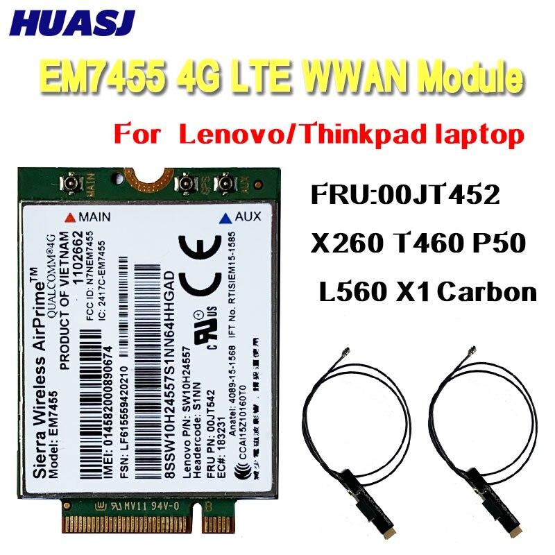 Huasj EM7455 Sierra Wireless FDD / TDD LTE 4G módulo Gobi6000 para Lenovo FRU 00JT542 01AX756 T460 T460p L560 Йога 260 P50