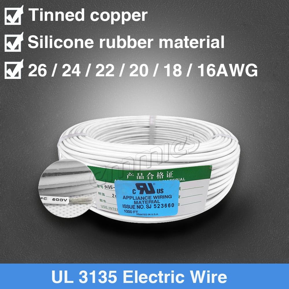 Alambre de silicona de cobre estañado UL3135 24AWG
