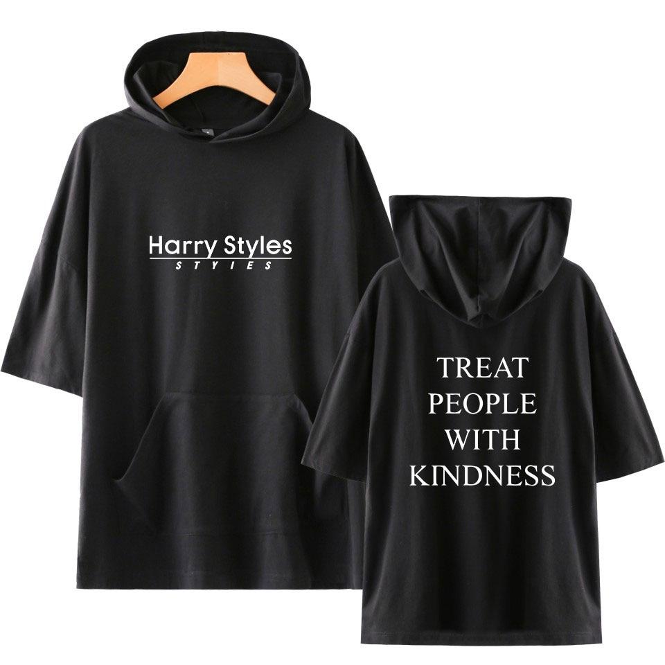 Harry Styles Herren Mit Kapuze T-shirt Hip Hop 2020 Sommer T-Shirt Streetwear Harajuku T-shirt Hoodie Kurzarm Tops Tees Baumwolle