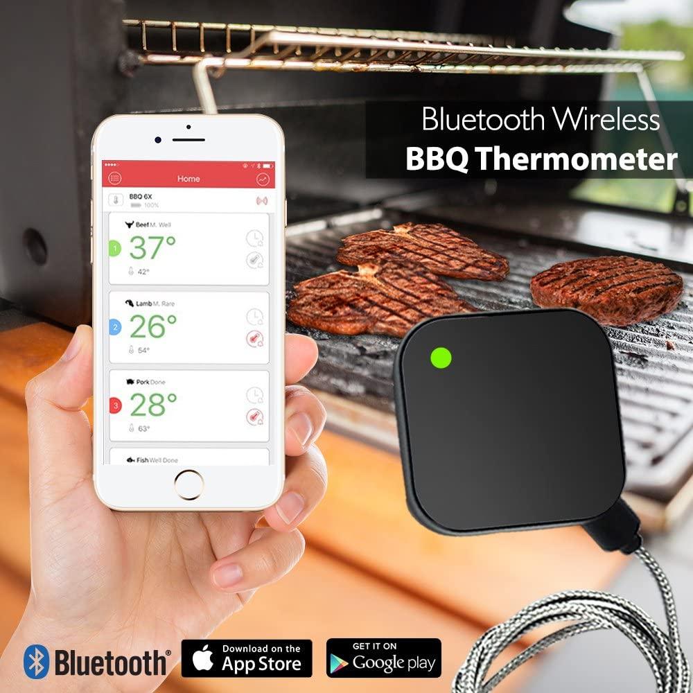 Цифровой Уличный беспроводной Bluetooth-термометр AidMax, кухонный градусник для барбекю, из барбекю, с щупом для духовки, гриля, барбекю