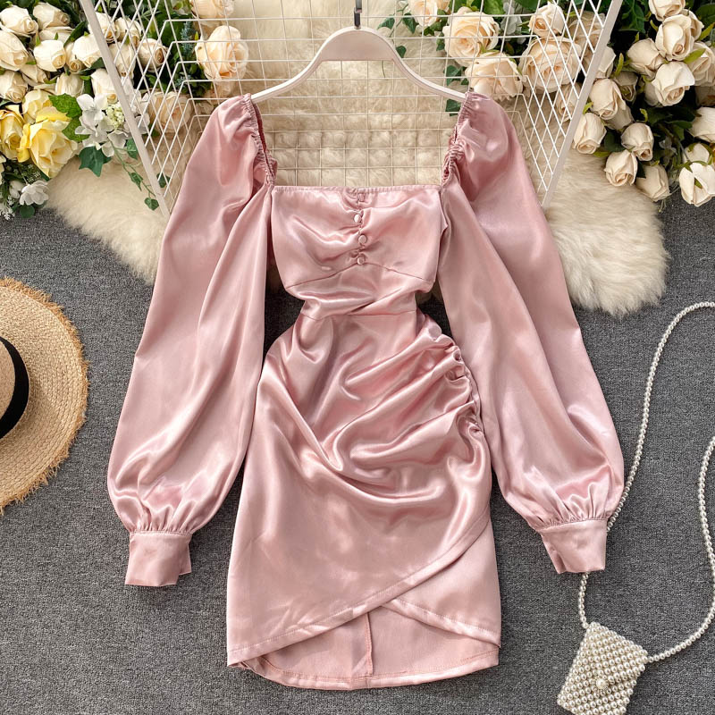 Fashion Spring Summer Vintage Square Collar High Waist Party Satin Dress Pleated Women Long Sleeve Robe Vestido