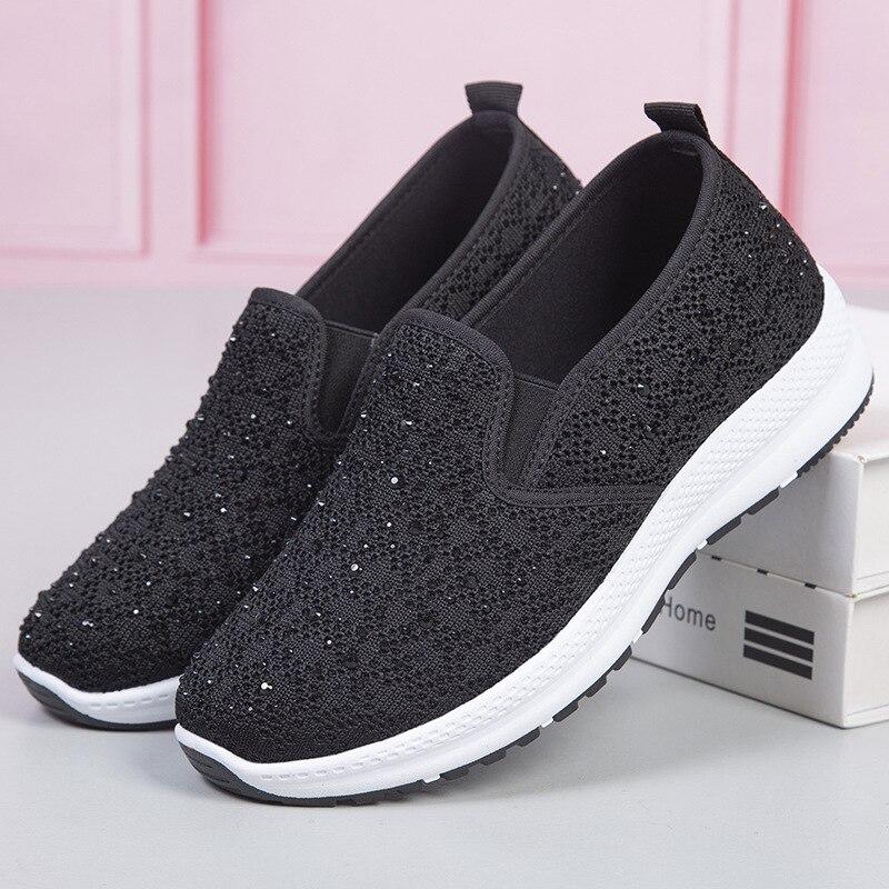 2021 Fashion Sock Sneakers Women Bling Vulcanized Mesh Shoes Woman Tenis Feminino Casual Slip on Loafers Shoes