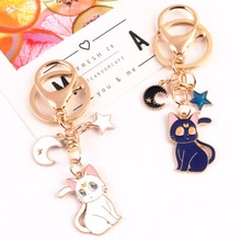 New Cute Cat Alloy Keychain Moon Cat Star Metal Keyring Accessories for Women Couple Backpack Car Pe