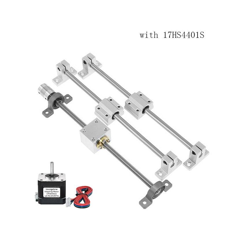 Juegos de impresora 3d de rieles de guía T8, longitud del tornillo de plomo 400mm + eje lineal 8*400mm + KP08 SK8 SC8UU + carcasa de tuerca + acoplamiento + motor