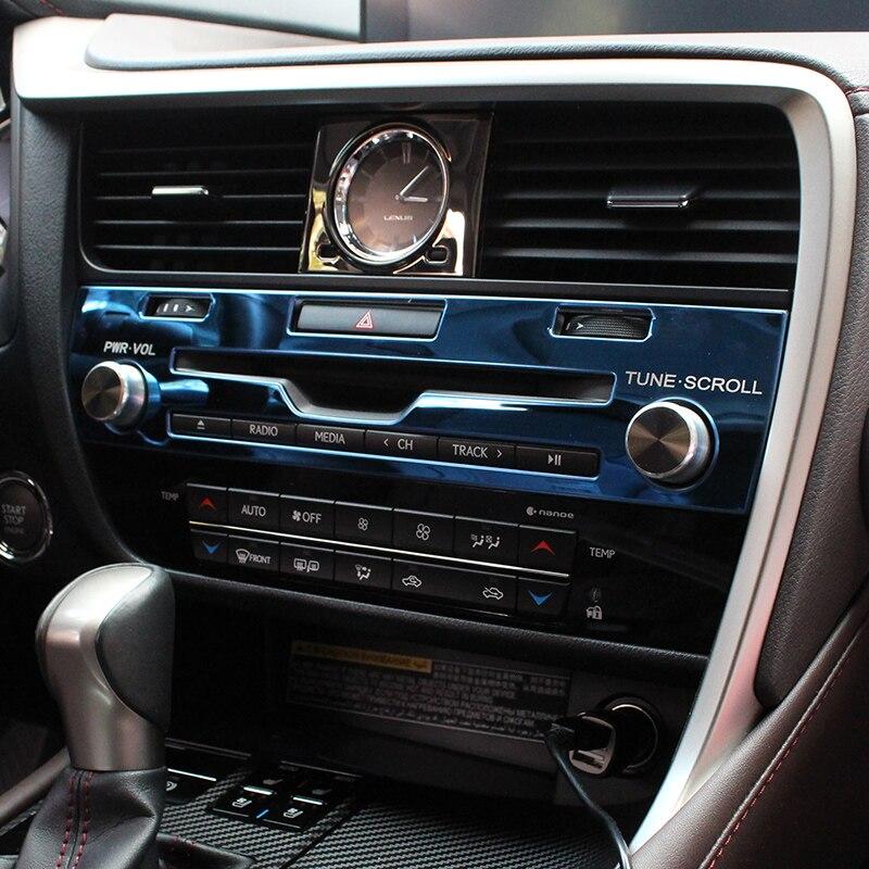 Control medio cubierta de Panel de CD pegatina de corte de acero inoxidable de estilismo para Interior de coche accesorios para Lexus RX 200t 450h 2016-2020