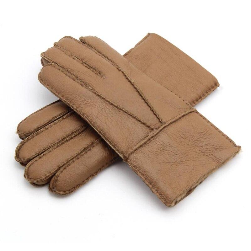 Зимние теплые кожаные мужские перчатки из натуральной овечьей кожи мужские перчатки шерстяные мужские варежки теплые брендовые ручной раб...
