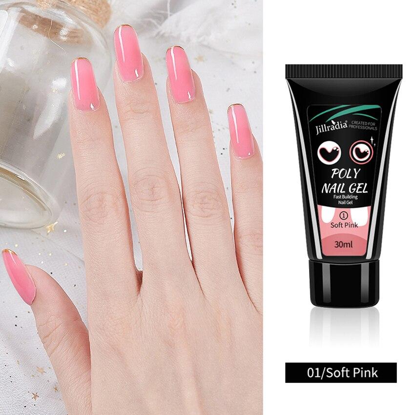 ROHWXY 30ML Poly Gel UV Pour Manucure Outils Poly UV Vernis À Ongles Pour Ongles Prolonger Rose Blanc Clair Cristal Gel UV Pour Ongles Art Design
