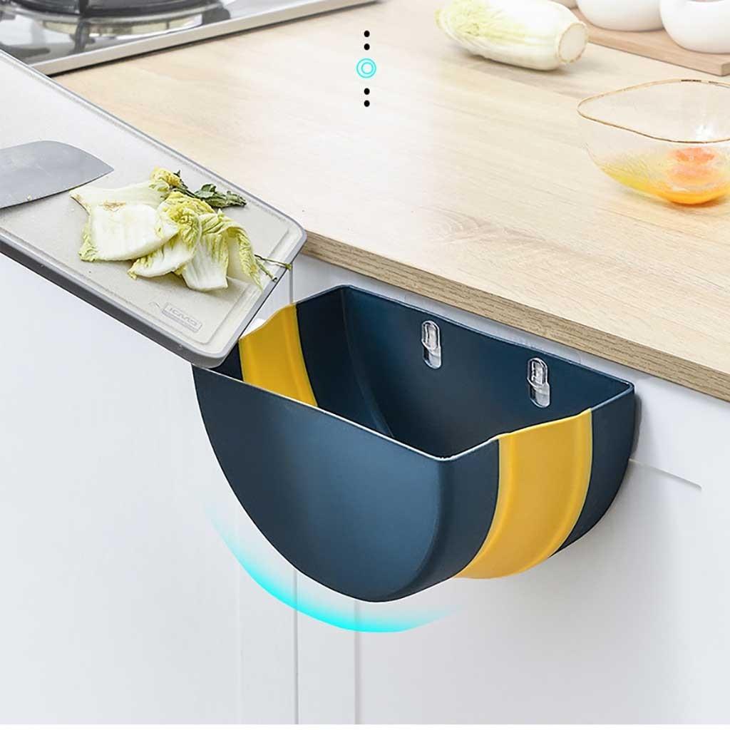 Práctica Papelera para colgar puede contenedor de basura montado en la pared de la basura de la cocina colgador para puerta de armario latas de basura