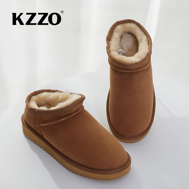 Kzo-أحذية مطاطية للكاحل للنساء ، أحذية كلاسيكية من جلد البقر الأصلي ، أحذية شتوية صلبة للنساء