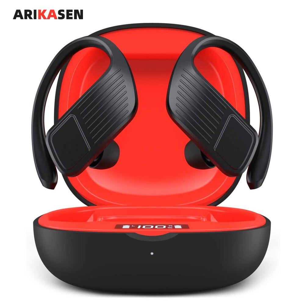 Fones de Ouvido Verdadeiro sem Fio Gancho da Orelha Resistente à Água Arikasen Bluetooth Horas Graves Estéreo Esporte Fones Tws 40